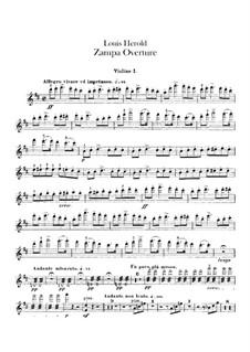 Zampa, ou La fiancée de marbre (Zampa, or the Marble Bride): abertura - violinos parte I by Ferdinand Herold