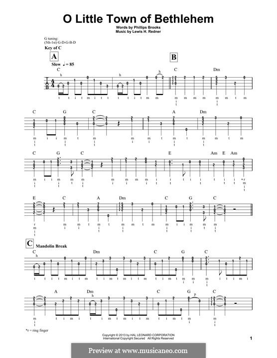 O Little Town of Bethlehem: For banjo by Lewis Henry Redner