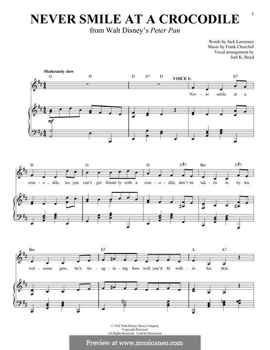 Never Smile at a Crocodile: Para vocais e piano by Frank Churchill