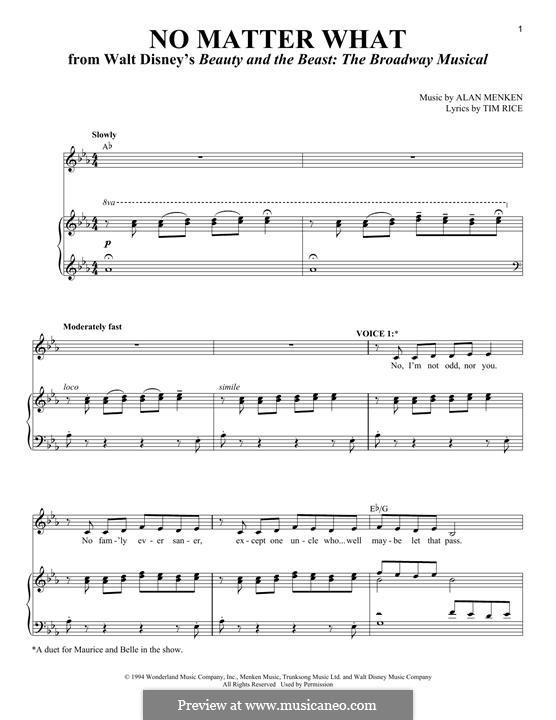 No Matter What: Para vocais e piano by Alan Menken