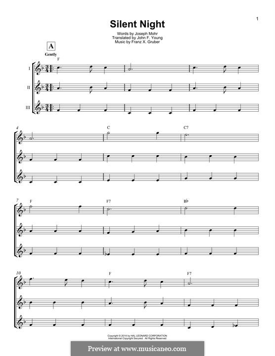 Silent Night (Printable): For ukulele by Franz Xaver Gruber