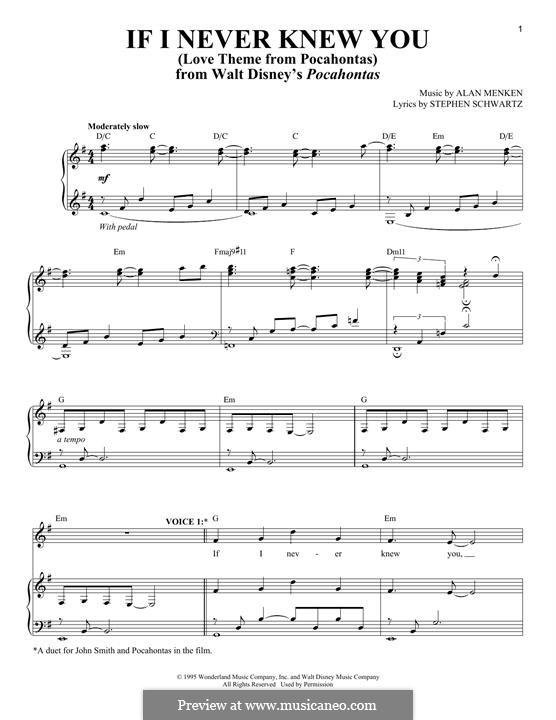 If I Never Knew You (Love Theme from Pocahontas): Para vocais e piano by Alan Menken