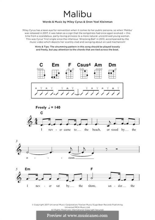Malibu (Miley Cyrus): para ukulele by Miley Ray Cyrus, Oren Yoel