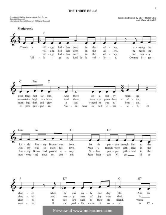 The Three Bells (Les Trois Cloches): melodia by Jean Villard
