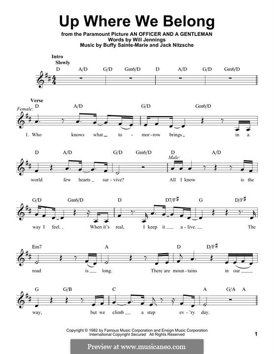 Up Where We Belong (Joe Cocker and Jennifer Warnes): melodia by Buffy Sainte-Marie, Jack Nitzsche, Will Jennings