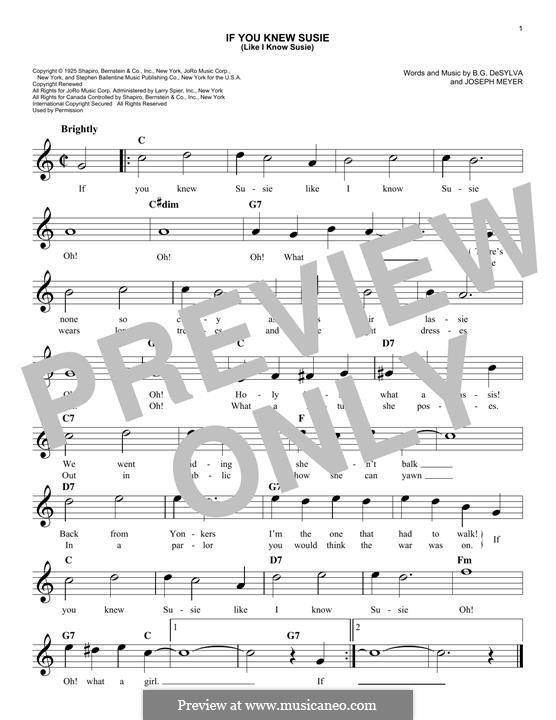 If You Knew Susie (Like I Know Susie): melodia by Buddy Gard DeSylva, Joseph Meyer