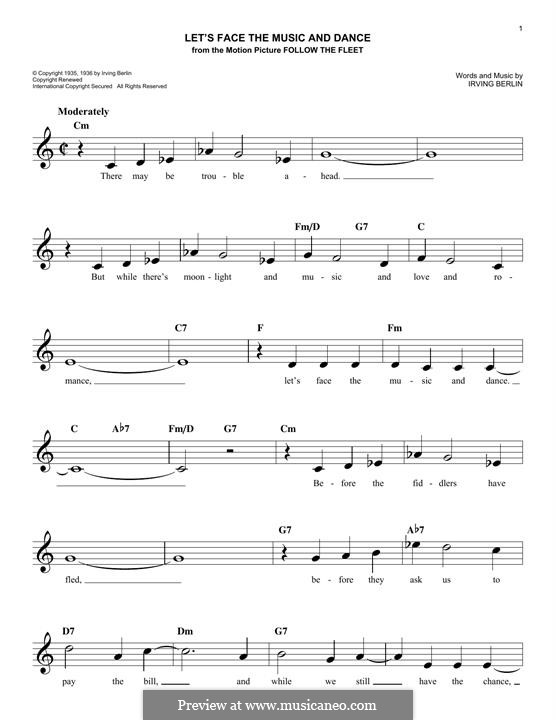 Let's Face the Music and Dance: melodia by Irving Berlin