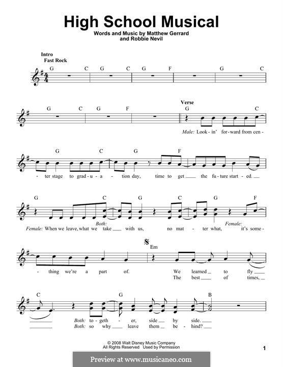 High School Musical (from High School Musical 3): melodia by Matthew Gerrard, Robbie Nevil