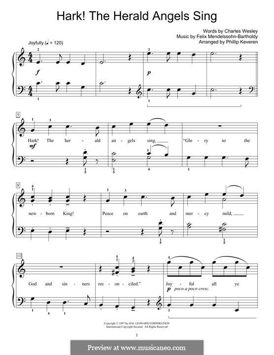 Hark! The Herald Angels Sing, for Piano: para um único musico (Editado por H. Bulow) by Felix Mendelssohn-Bartholdy