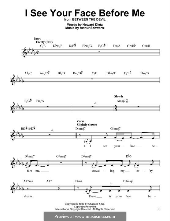 I See Your Face Before Me (Howard Dietz): melodia by Arthur Schwartz