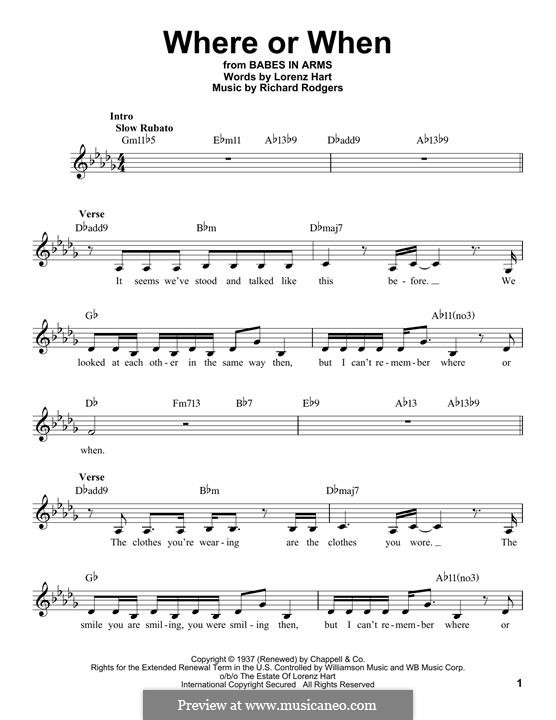 Where or When: melodia by Richard Rodgers