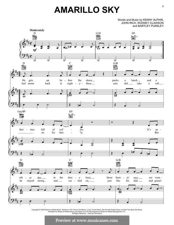 Amarillo Sky (Jason Aldean): Para vocais e piano (ou Guitarra) by John Rich, Kenny Alphin, Rodney Clawson, Bartley Pursley