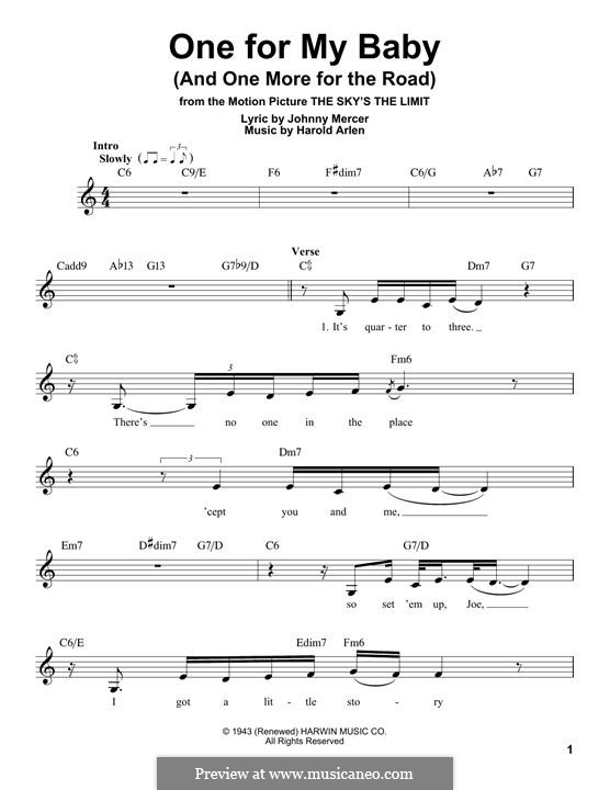 One for My Baby (And One More for the Road): Melody line (Frank Sinatra) by Harold Arlen