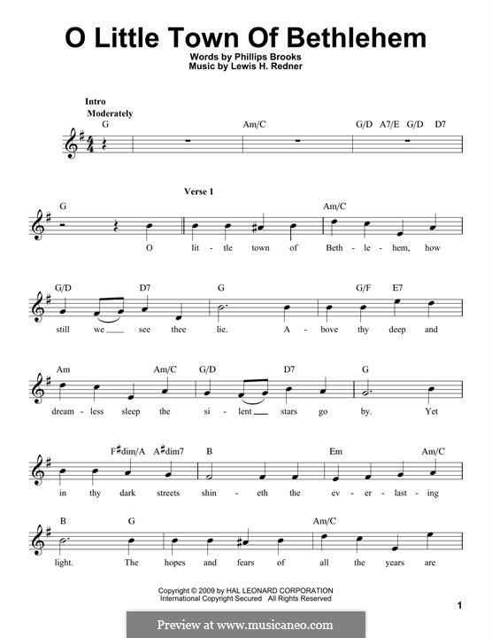 O Little Town of Bethlehem: melodia by Lewis Henry Redner