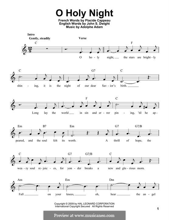O Holy Night (Printable Scores): melodia by Adolphe Adam