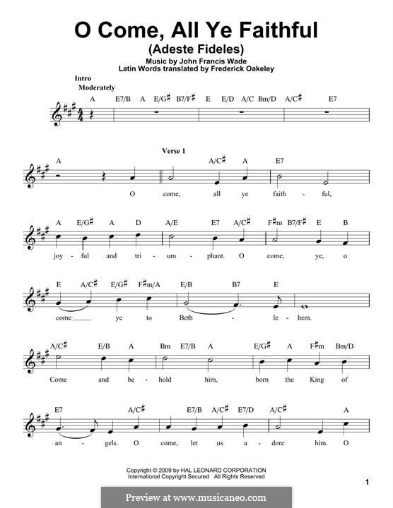 O Come, All Ye Faithful (Printable Scores): melodia by John Francis Wade