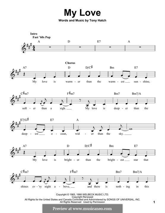 My Love: melodia by Tony Hatch