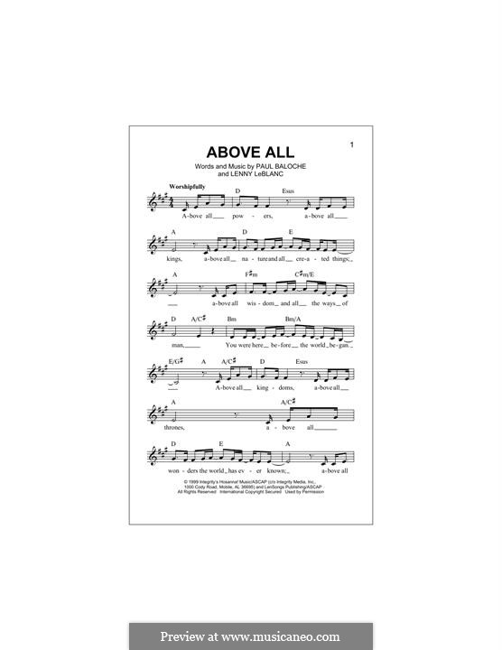 Above All: melodia by Paul Baloche, Lenny LeBlanc