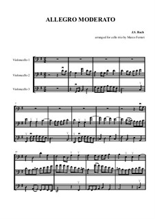 Sonata for Viola da Gamba and Harpsichord No.1 in G Major, BWV 1027: Allegro moderato. Arrangement for trio cellos by Johann Sebastian Bach