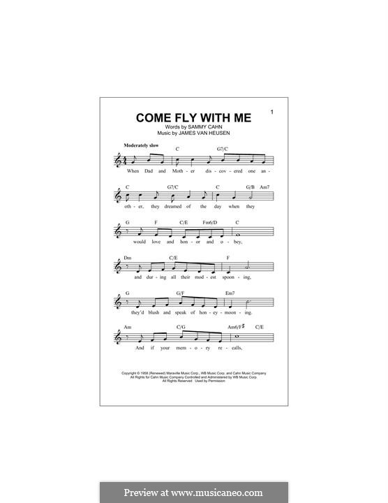 Come Fly with Me (Frank Sinatra): melodia by Jimmy Van Heusen