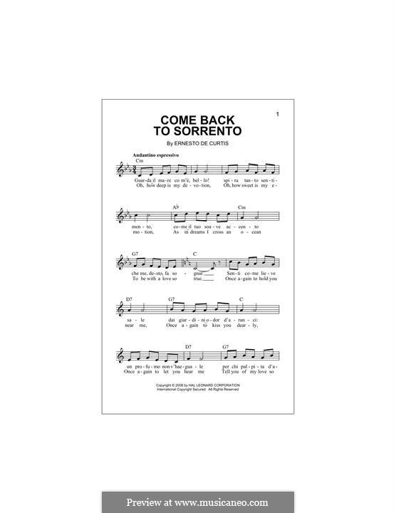 Torna a Surriento: melodia by Ernesto de Curtis