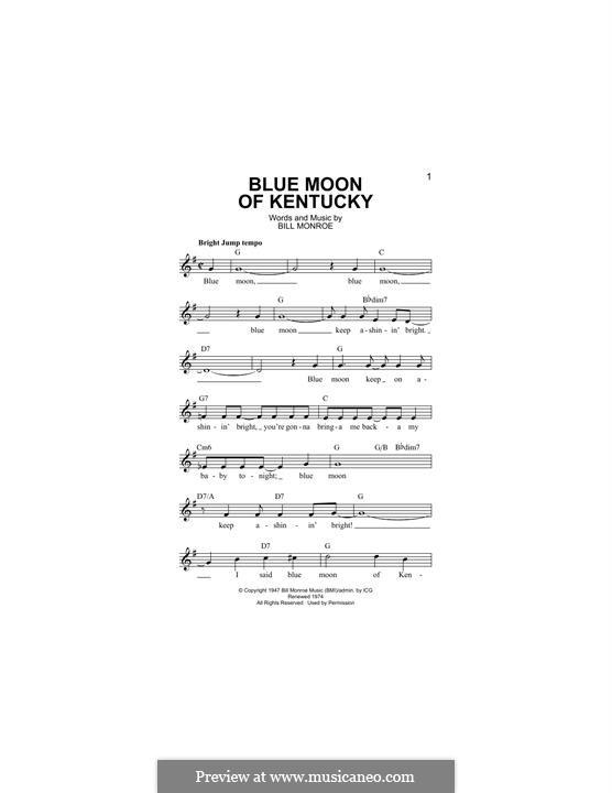 Blue Moon of Kentucky: melodia by Bill Monroe