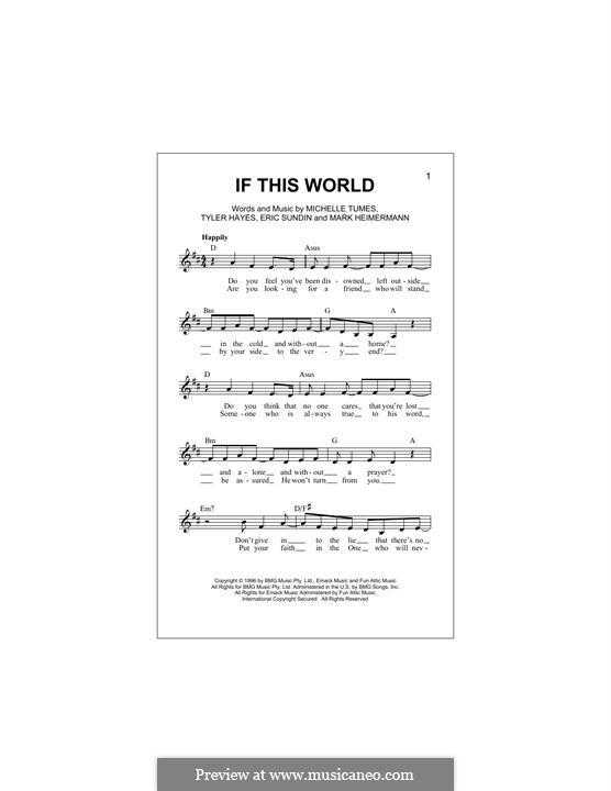 If This World (Jaci Velasquez): melodia by Erik Sundin, Mark Heimermann, Michelle Tumes, Tyler Hayes