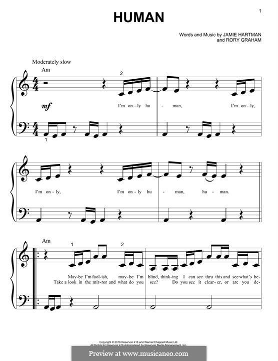 Human (Rag'n'Bone Man): Para Piano by Jamie Hartman, Rory Graham