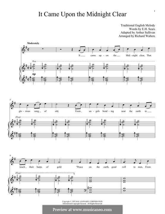 It came upon the midnight clear: Para vocais e piano by folklore