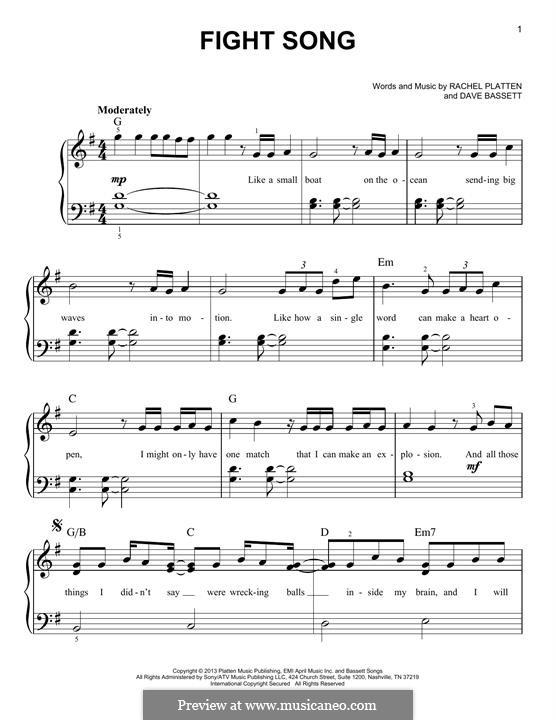 Fight Song: Para Piano by Dave Bassett, Rachel Platten