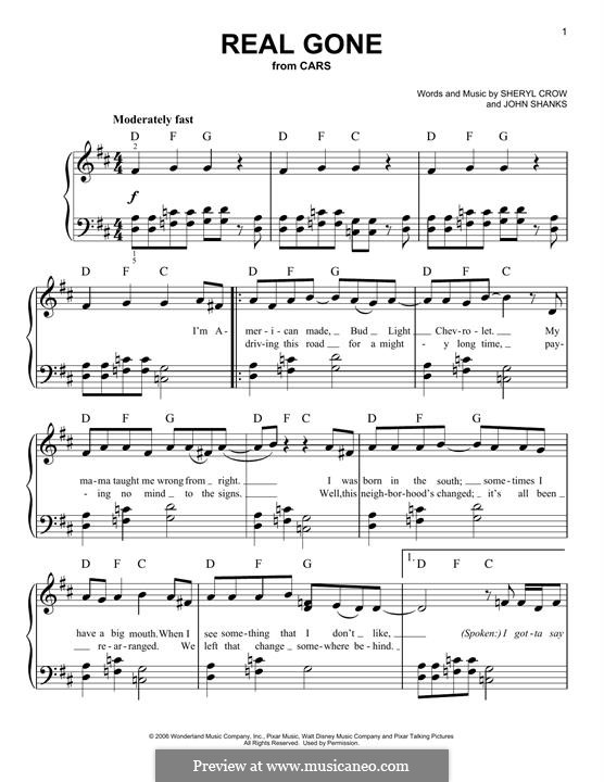 Real Gone (Sheryl Crow): Para Piano by John M Shanks