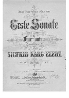 Sonata for Harmonium No.1, Op.36: Sonata for Harmonium No.1 by Sigfrid Karg-Elert