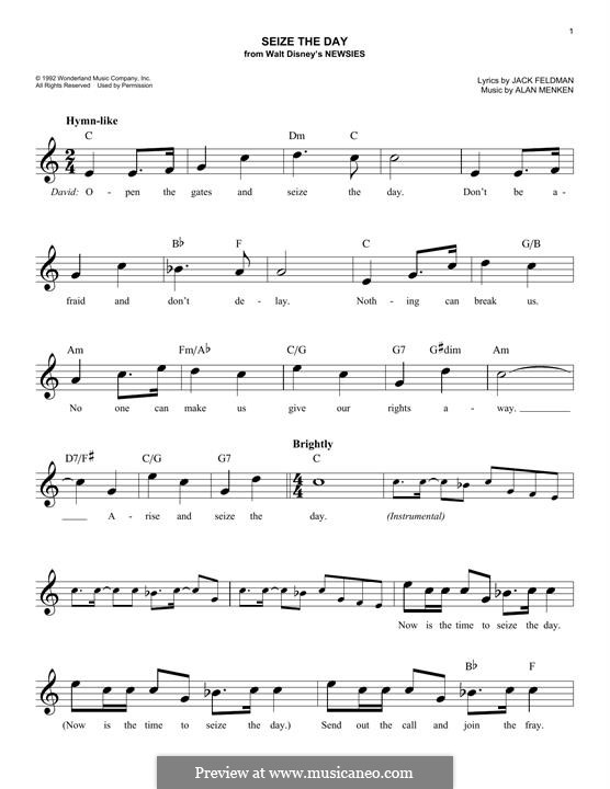 Seize the Day (from Newsies): melodia by Alan Menken
