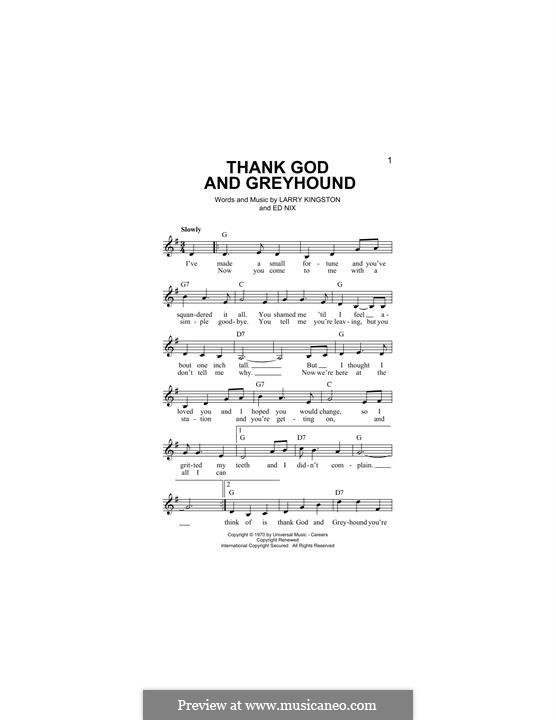 Thank God and Greyhound (Roy Clark): melodia by Ed Nix, Larry Kingston