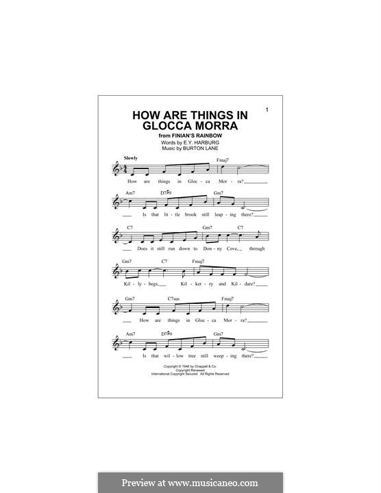 How are Things in Glocca Morra: melodia by Burton Lane