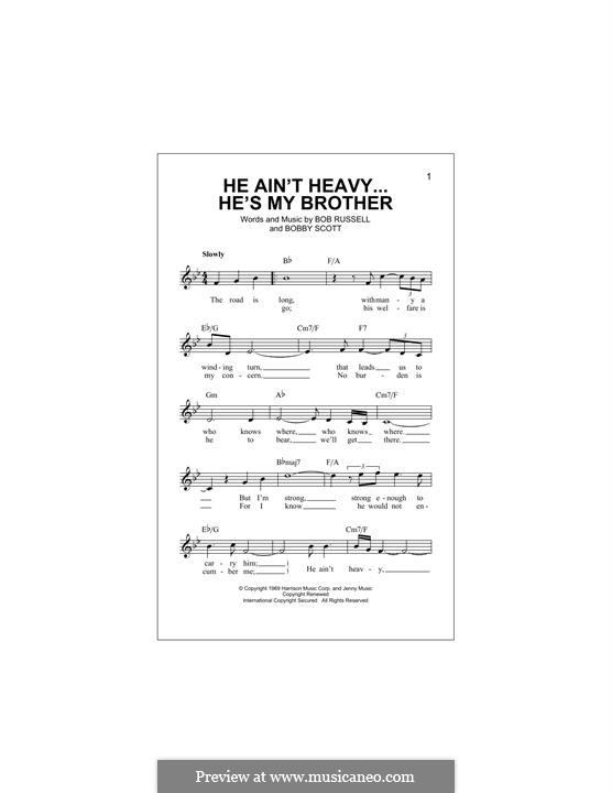 He Ain't Heavy, He's My Brother: melodia by Bobby Scott