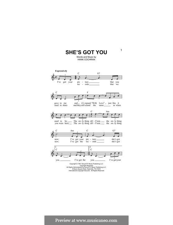 She's Got You (Patsy Cline): melodia by Hank Cochran
