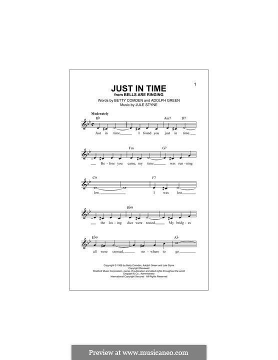 Just in Time (Frank Sinatra): melodia by Jule Styne