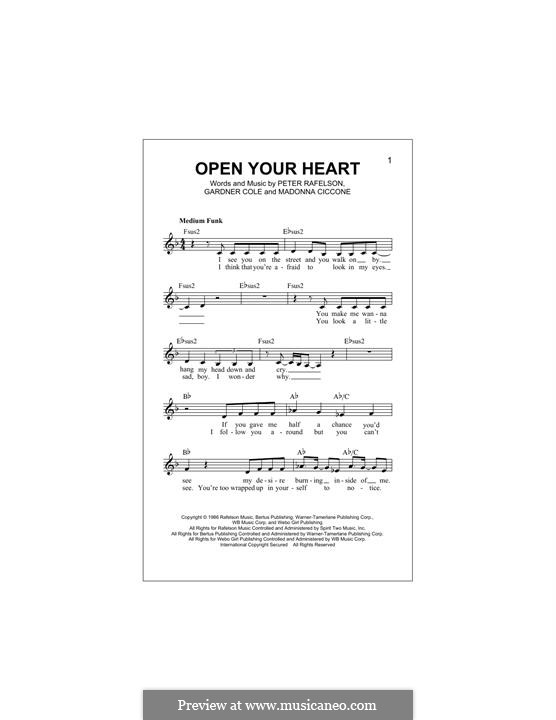 Open Your Heart: melodia by Madonna, Peter Rafelson, Gardner Cole