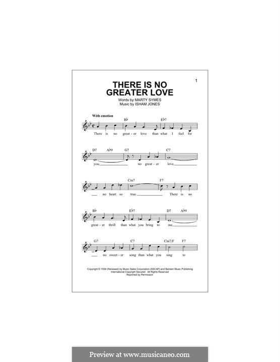 There Is No Greater Love: melodia by Marty Symes