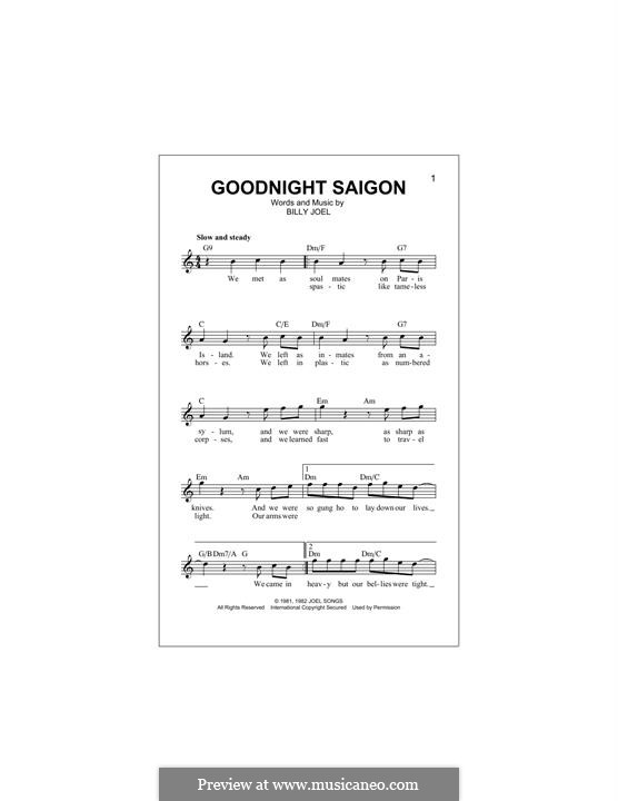 Goodnight Saigon: melodia by Billy Joel