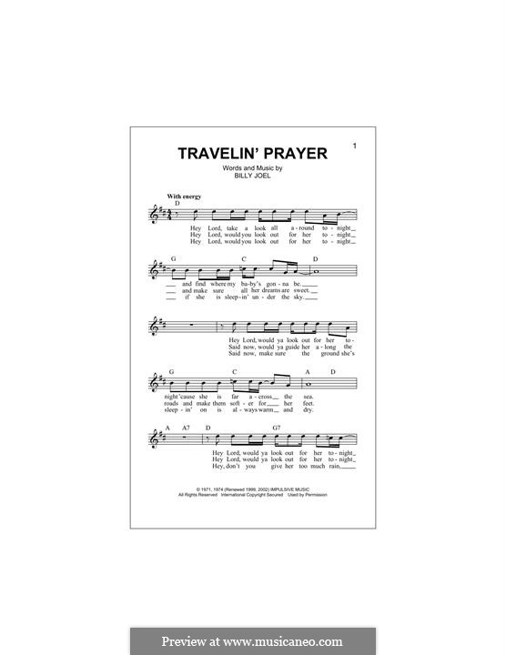 Travelin' Prayer: melodia by Billy Joel