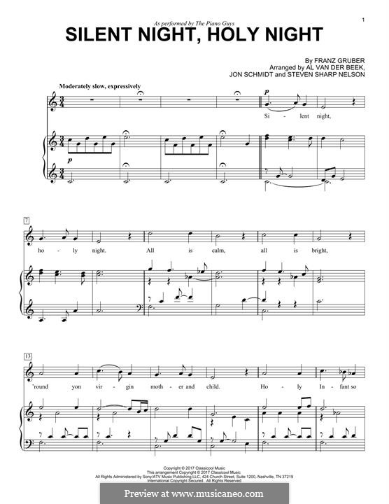 Silent Night, for Two Instruments: For voice and piano (The Piano Guys) by Franz Xaver Gruber