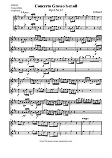 Concerto Grosso No.12 in B Minor, HWV 330: partes by Georg Friedrich Händel