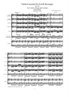 La Cetra (The Lyre). Twelve Violin Concertos, Op.9: No.9 Concerto in B Flat Major – score, parts, RV 530 by Antonio Vivaldi