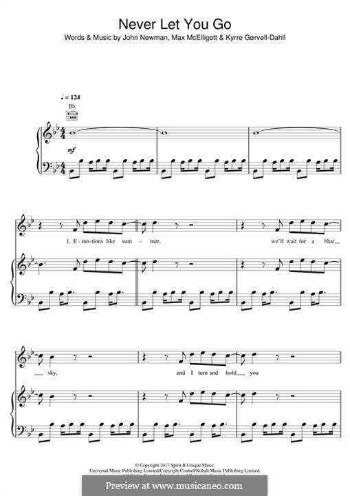 Never Let You Go (Kygo feat. John Newman): Para vocais e piano (ou Guitarra) by John Newman, Max McElligott