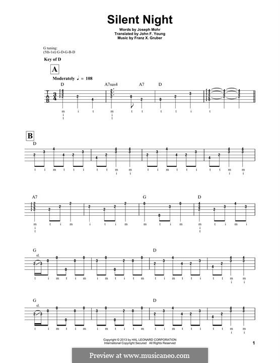 Silent Night (Printable): For banjo by Franz Xaver Gruber