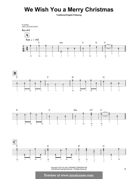 We Wish You a Merry Christmas (Printable Scores): For banjo by folklore