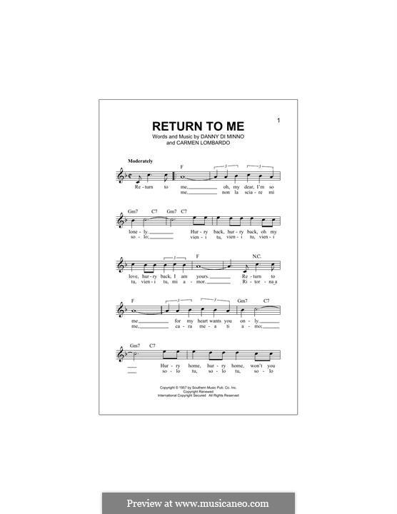 Return To Me (Dean Martin): melodia by Carmen Lombardo, Danny Di Minno