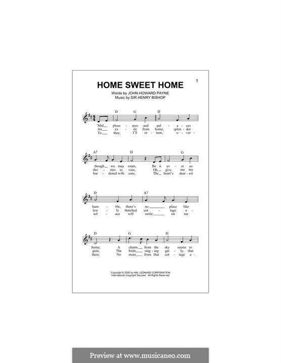 Home, Sweet Home: melodia by Henry Bishop
